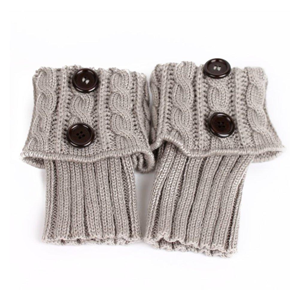 copri calze Pixnor scaldamuscoli da donna a maglia sferruzzati Beige