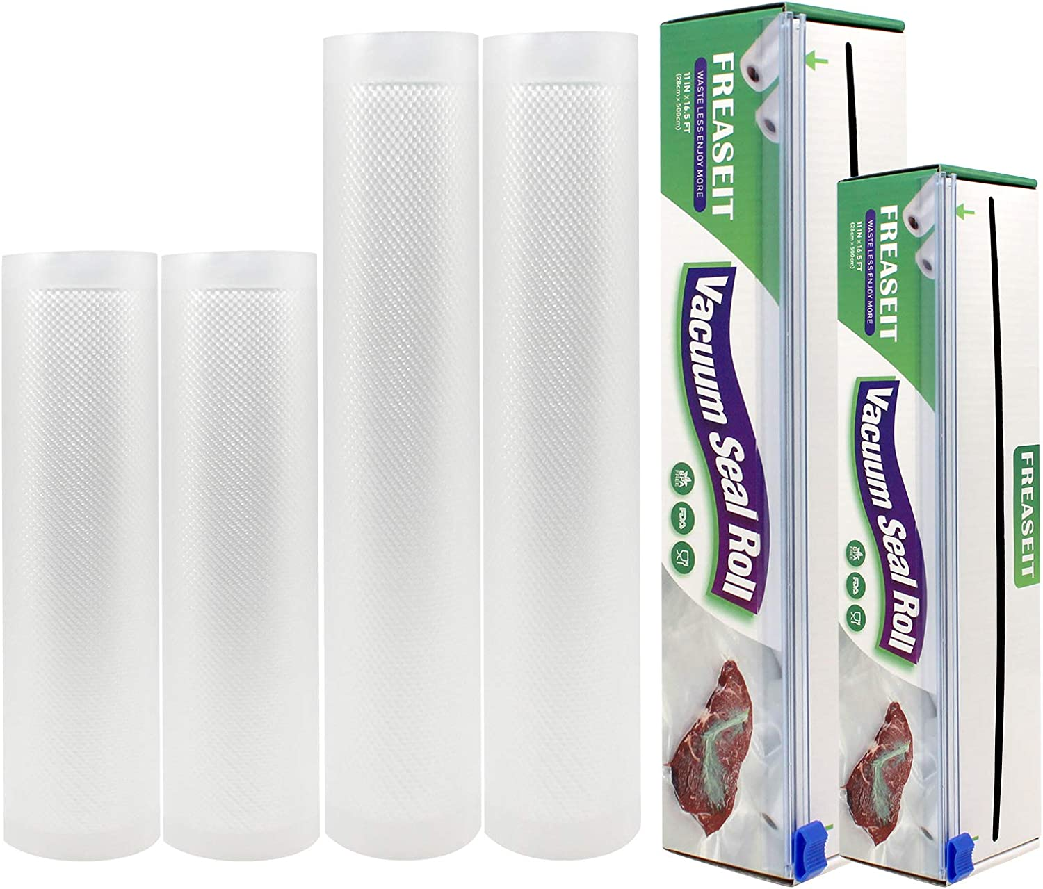 FREASEIT Vacuum Sealer Bags Rolls for Food, Commercial Grade Vacuum Sealer Bags, Heavy Duty Vacuum Sealer Rolls, Food Saver Vacuum Sealer Bags Rolls for Sous Vide