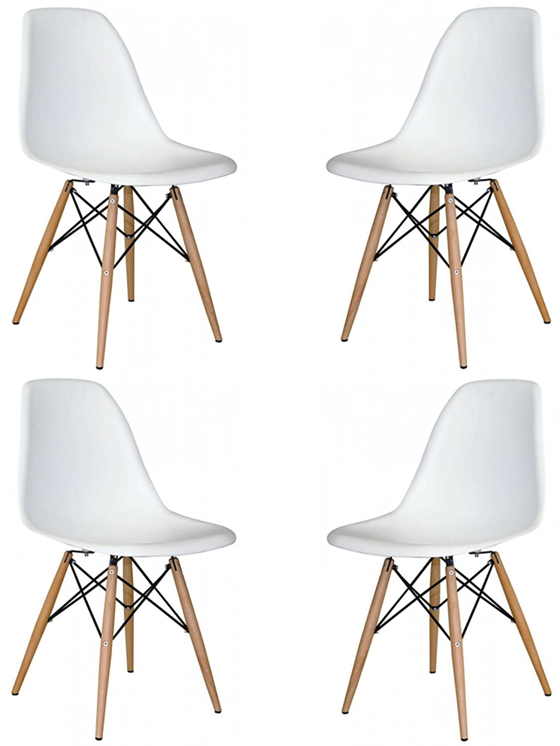Amazon.com - Mid Century Modern Eames Style Chairs 4 Pack (White ...