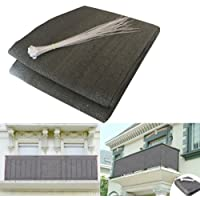 shsyue Balcony Privacy Filter – Weather-Resistant Wind Screen Anthracite UV Protection Balcony Covering with Cable Ties 500x90 cm New
