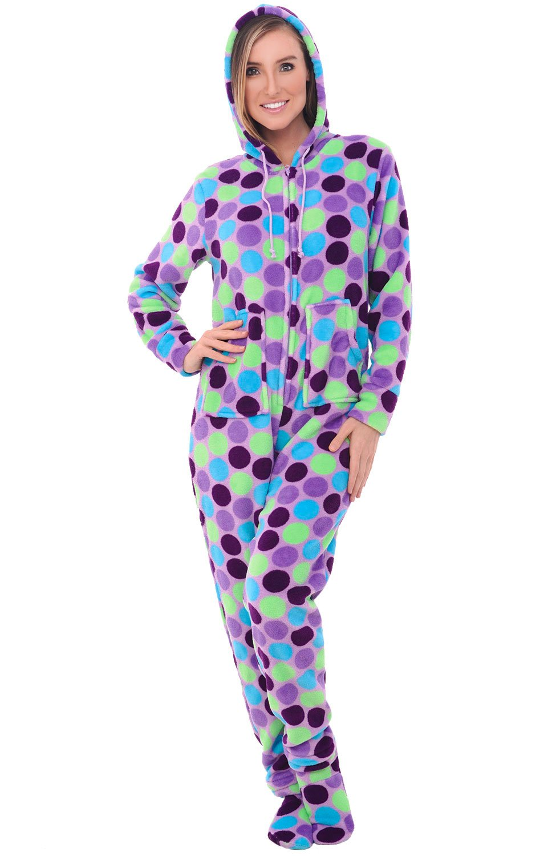 Alexander Del Rossa Womens Fleece Onesie, Hooded Footed Jumpsuit Pajamas, Medium Purple Polka Dots (A0322R46MD)