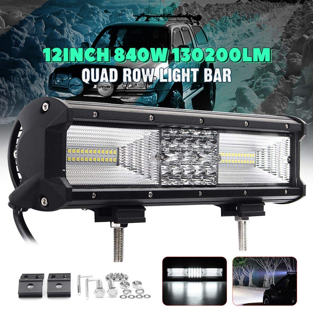 Quad Row 12inch 840W 68LED Work Light Bar Spot Flood Combo Driving Lamps Waterproof LED Work Light 6000K for SUV Offroad Vehicle Topker