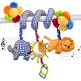 Elephant Lion with Mirror Infant Baby Activity Spiral Bed & Stroller Toy Musical Bed Cartoon Gift Toys