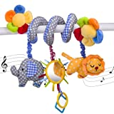 Elephant Lion with Mirror Bell Baby Music Bed Hanging Cribs Toy-Baby Children Twisty Curly Pram Pushchairs Car Seat Cot Toy-Musical Bed Cartoon Gift Toys