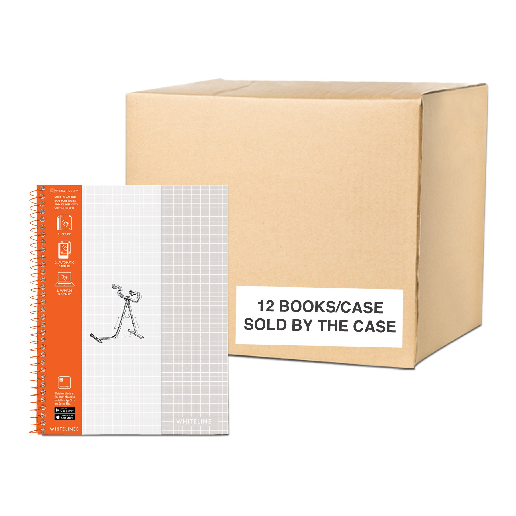 WhiteLines 17001cs Case of 12 Whitelines Notebooks, Grey Lined Paper, Background Disappears When You Scan Pages With Whitelines Free App, Case 11''x8.5'' Graph, Orange