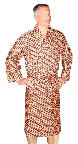 Bata Para Hombre - 100% Seda - Estampado de Osos De Peluche - Borgoña (