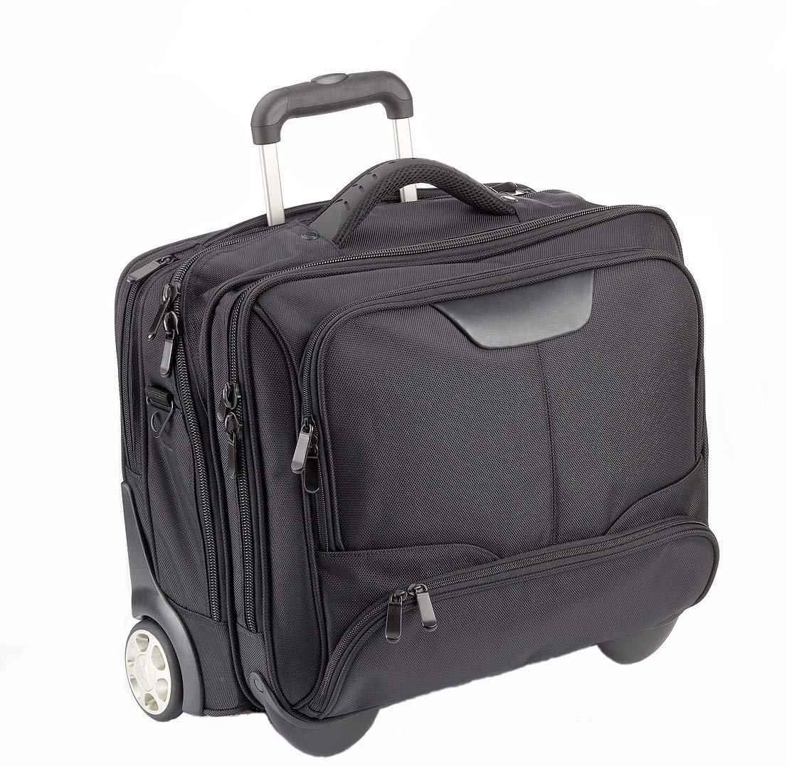 DERMATA Sac d'ordinateur portable Notebooktrolley 17 Pouces Pilote Case Trolley [ Pc portable max. 41 x 29 cm] avec bandoulière / NOIR
