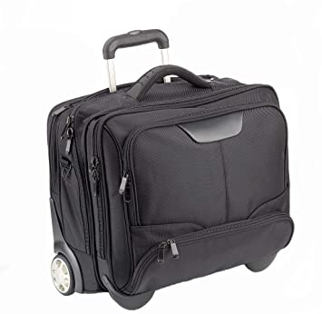 Dermata - Maletín con ruedas para ordenadores portátiles (17 pulgadas como máximo, incluye correa para colgar del hombro), color negro: Amazon.es: Equipaje