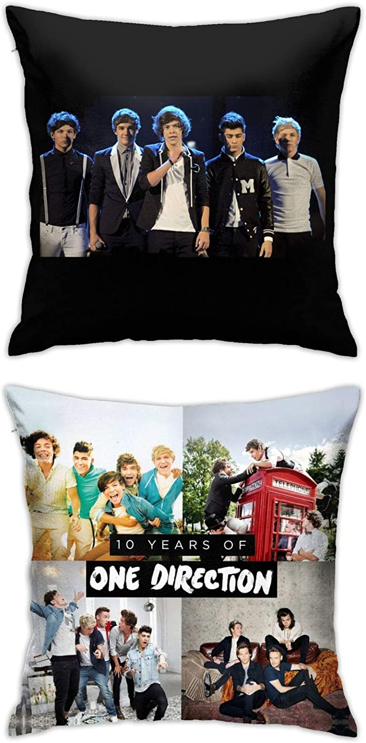 One Direction Throw Pillow Covers Set Cushion Case for Sofa Bedroom Car and Home Decor 18 X 18 Inch 2pcs