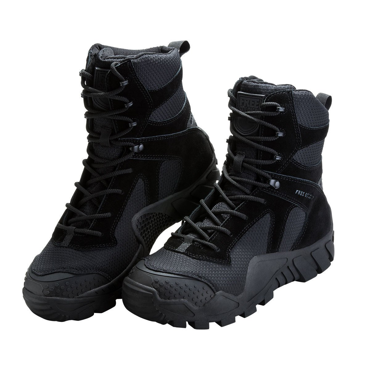 FREE SOLDIER Men's Boots All Terrain Hiking Shoes Suede Leather Winter Tactical Boots (Black, 10)