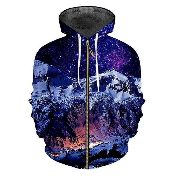 Bridfa Sudadera Cremallera los Hombres Sueltos 3D Jersey impresión Snow Mountain Casual Sudadera Capucha Gran tamaño Ropa Zip Up Sudaderas Capucha ...