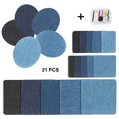 dae0232534 Toppa termoadesiva denim – Jean patch toppa, 20 pezzi Iron su cotone toppe  da cucire e kit per riparazione abiti jeans con 1PCS by Xcozu