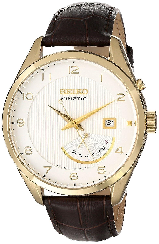 Seiko Herren SRN052 Edelstahl Armbanduhr mit Leder Band von Seiko Uhren