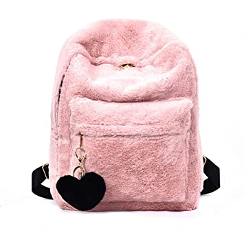 abb390556f Amazon.com  YSMYWM Women Soft Faux Fur Plush Backpack Shoulder Bag Fluffy  School Bag with Heart Pendant (Pink)  YSMYWM