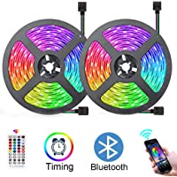 Bluetooth LED Strip Lights Music Sync, Waterproof 5050 RGB 2x5 Meters LED Strip Lights 300 LED, Smart Phone and Remote…