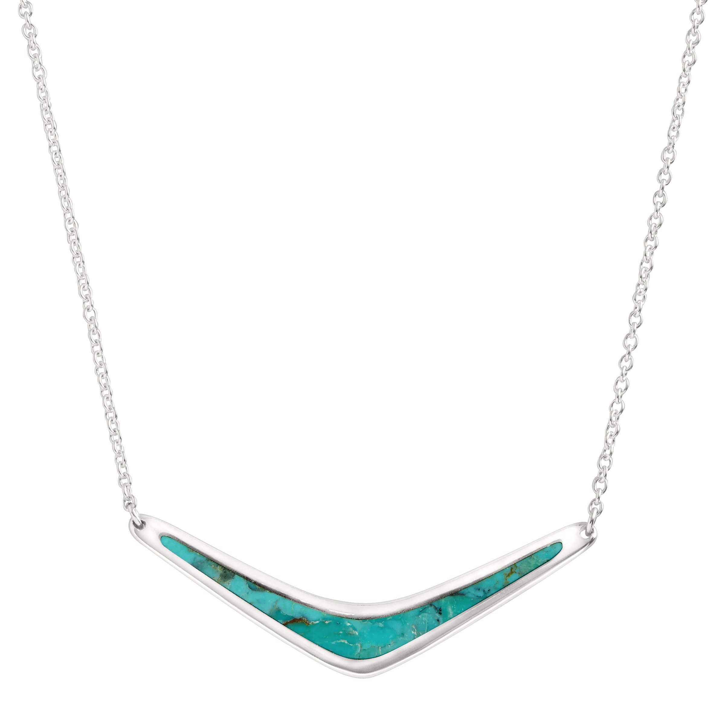 Silpada 'Reversible Boomerang' Compressed Turquoise Necklace in Sterling Silver, 18'' + 2'' Extender