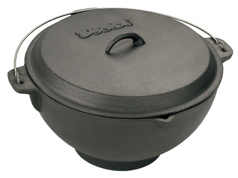 Bayou Classic 7419 11-Quart Cast-Iron Jambalaya Pot/Deep Fryer with Domed Lid