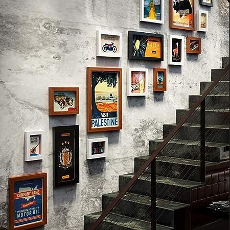 QJKai Escalera Foto Pared Reloj combinación Foto Marco Barra decoración Foto Marco Foto reemplazable: Amazon.es: Hogar