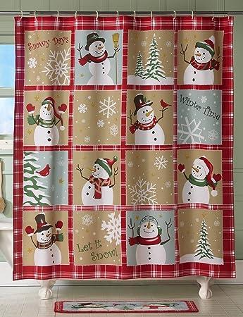 Snowman Winter Country Bath Decor Holiday Christmas Shower Curtain Bathroom  Decoration