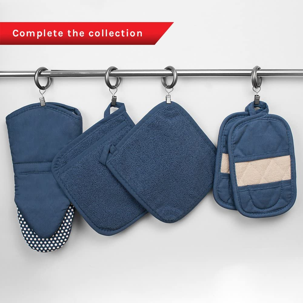 Ritz Royale Collection 100% Cotton Terry Cloth Mitz, Dual-Function Pot Holder/Oven Mitt Set, 4-Pack, Federal Blue: Home & Kitchen