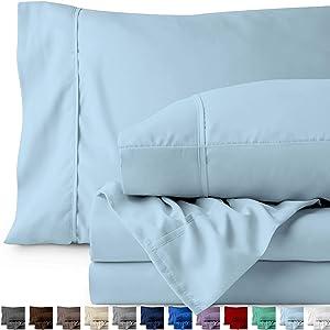 Bare Home Full Sheet Set - Kids Size - 1800 Ultra-Soft Microfiber Bed Sheets - Double Brushed Breathable Bedding - Hypoallergenic - Wrinkle Resistant - Deep Pocket (Full, Light Blue)