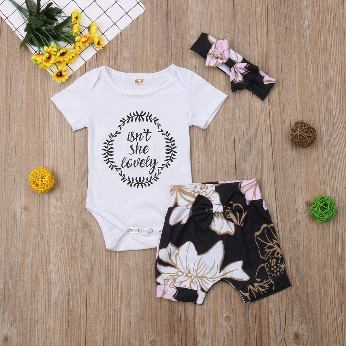 Toddler Baby Girls Outfits Letter Print Top Floral Shorts Bowknot Headbands Clothes Set