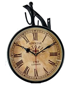 ROYSTAR Double Sided Analog Vintage Design Wall Clock - Victoria Station 1747 London, DIAL 8""