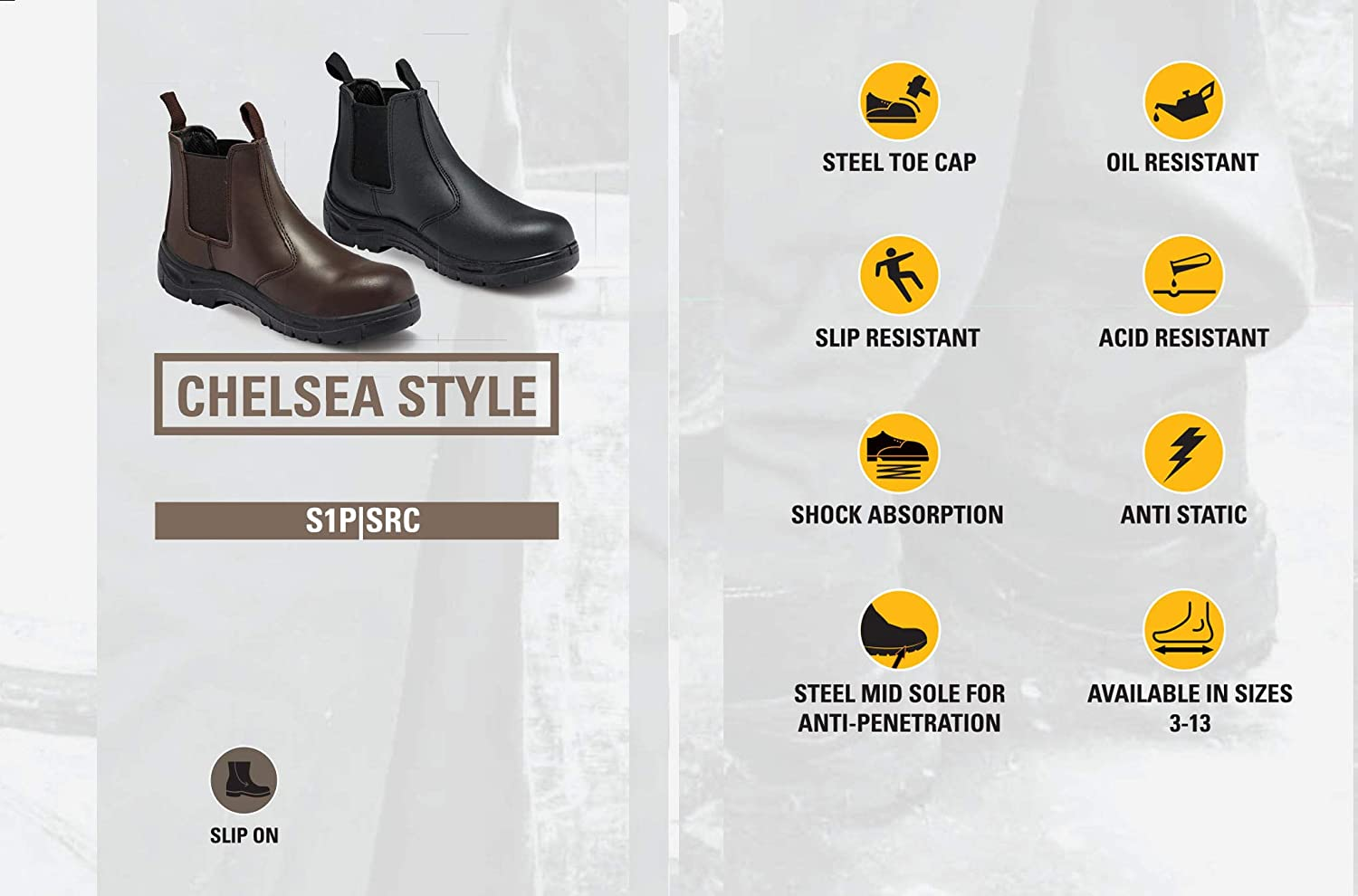 Ella Daisy Black and Pink Leather Safety Boots S1P SRA Ladies Work Boots Chelsea Boots Steel Toe Caps
