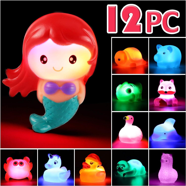 Juguete de Baño Laxdacee, Pack de 12 Animales con Luz, Juguetes de Goma para el Baño con Parpadeo Automático, Juego de Baño y Ducha y de Fiesta en la Piscina, Juguete de Agua para Niños Niñas y Bebés