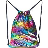Basumee Mermaid Cordon de Serrage Sac à Dos, sirène Sequins Sac Sequins Cordon de Serrage Sac de Danse pour Femmes Filles ado