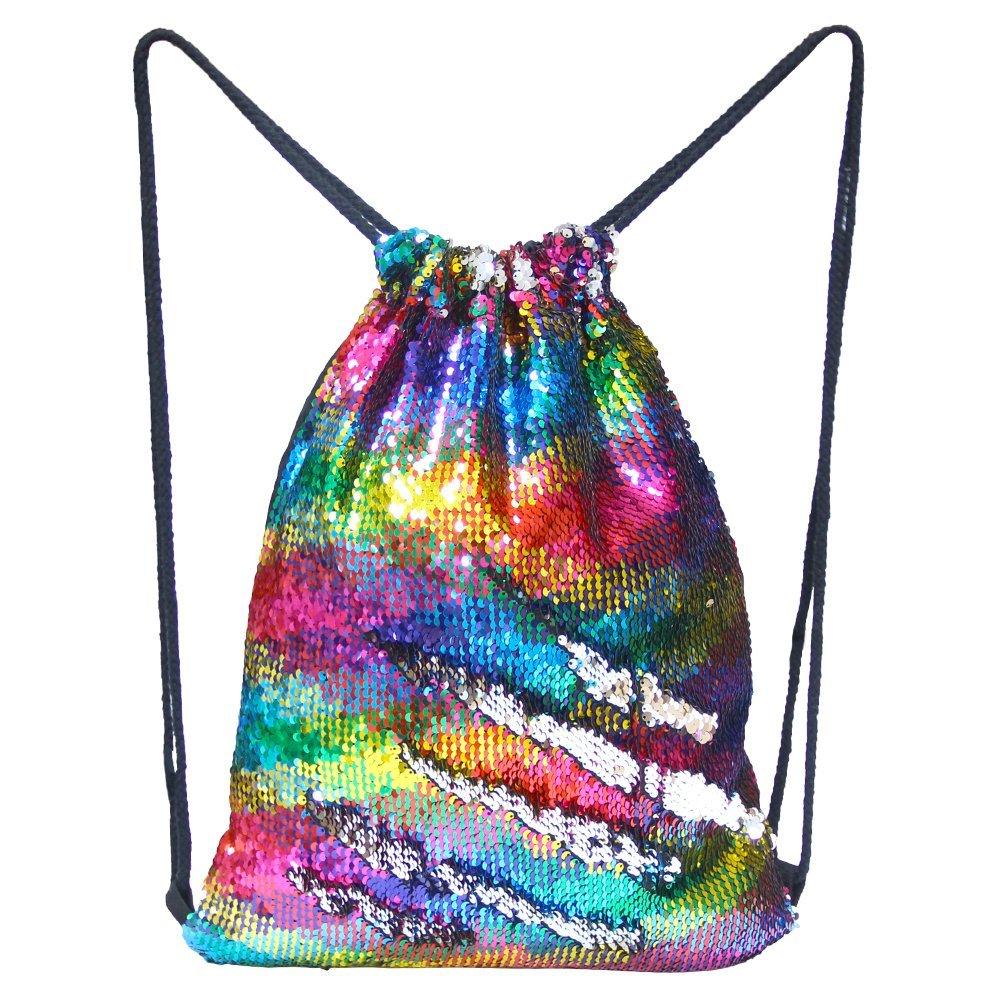 Basumee - Mochila con cordó n de Sirena, Bolsa de Lentejuelas con cordó n para Danza, para Mujeres, niñ as, Adolescentes, Color Blue-Purple, tamañ o 45x35cm Bolsa de Lentejuelas con cordón para Danza niñas tamaño 45x35cm Grlawn-
