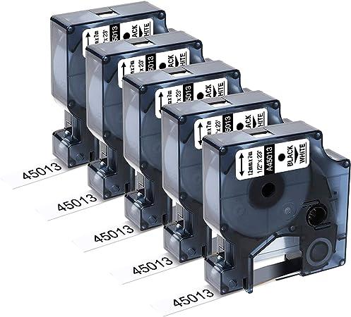 10 Nastri D1 45018 nero su giallo 12mm x 7m Etichette compatibili per DYMO LabelManager LM 100 150 160 200 210D 260 280 300 350 350D 360D 400 420P 450 500TS PC PC2 PnP LabelWriter LW 400 450 Duo