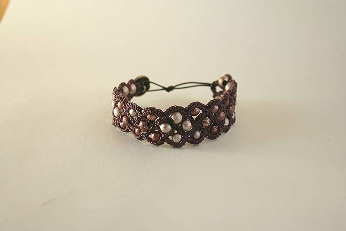 Amazon.com: Purple crochet and pink glass bead braclet: Handmade
