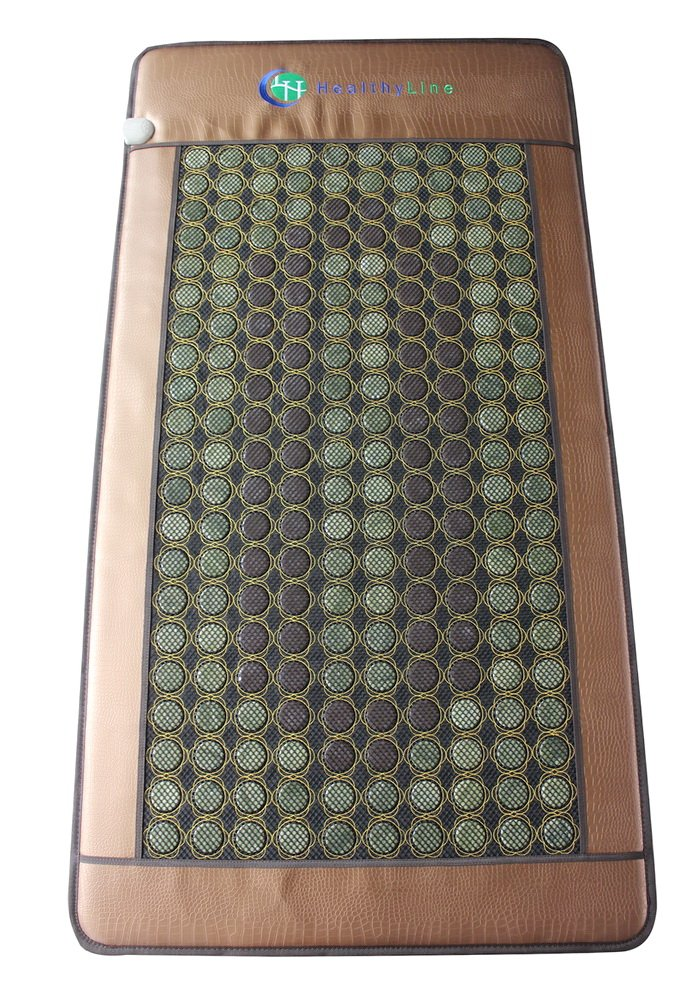 Heating Far Infrared Mat | Natural Jade & Tourmaline Healing Pad 80'' x 40'' | Heated Negative Ions (X-Large & Firm) | Relieve Pain, Stress & Insomnia | FDA Registered 110V USA Power by HealthyLine