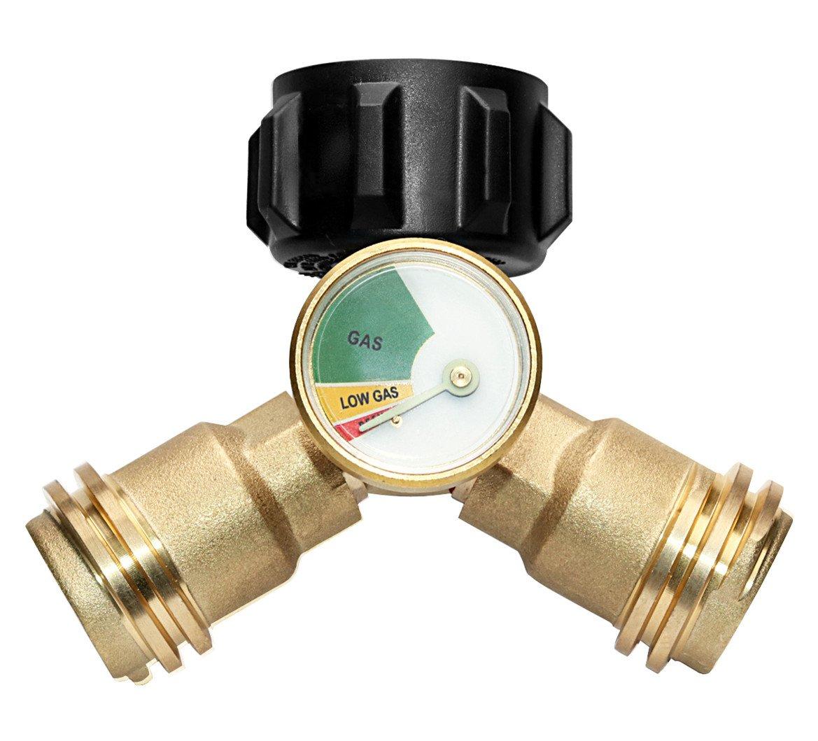 DOZYANT Propane Y-Splitter Tee Adapter Connector Propane Tank Gauge Level Indicator Leak Detector Gas Pressure Meter, 100% Solid Brass 1 Female QCC 2 Male QCC