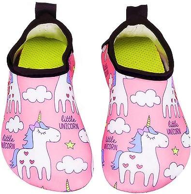 Toddler//Little Kid BFOEL Kids Swim Water Shoes Quick Dry Slip on Aqua Socks