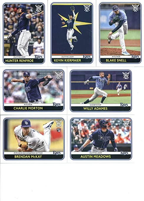 amazon com 2020 topps big league tampa bay rays team set of 8 cards blake snell 65 charlie morton 73 willy adames 87 austin meadows 117 brendan mckay 122 brandon lowe 157 hunter renfroe 223 kevin kiermaier 228 collectibles fine amazon com