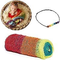 Besutana Newborn Photography Props Wraps Baby Props Photo Blanket and Lace Beads Headband