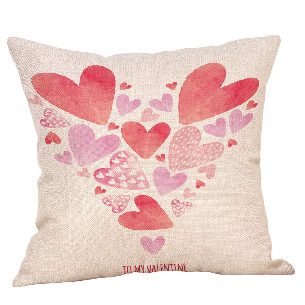 Valentine's Pillow Cases  Sikye Linen Throw Cushion Cover Your Are My Boo Cute Sofa Cushion Cover Home Decor Gift for Her (C)