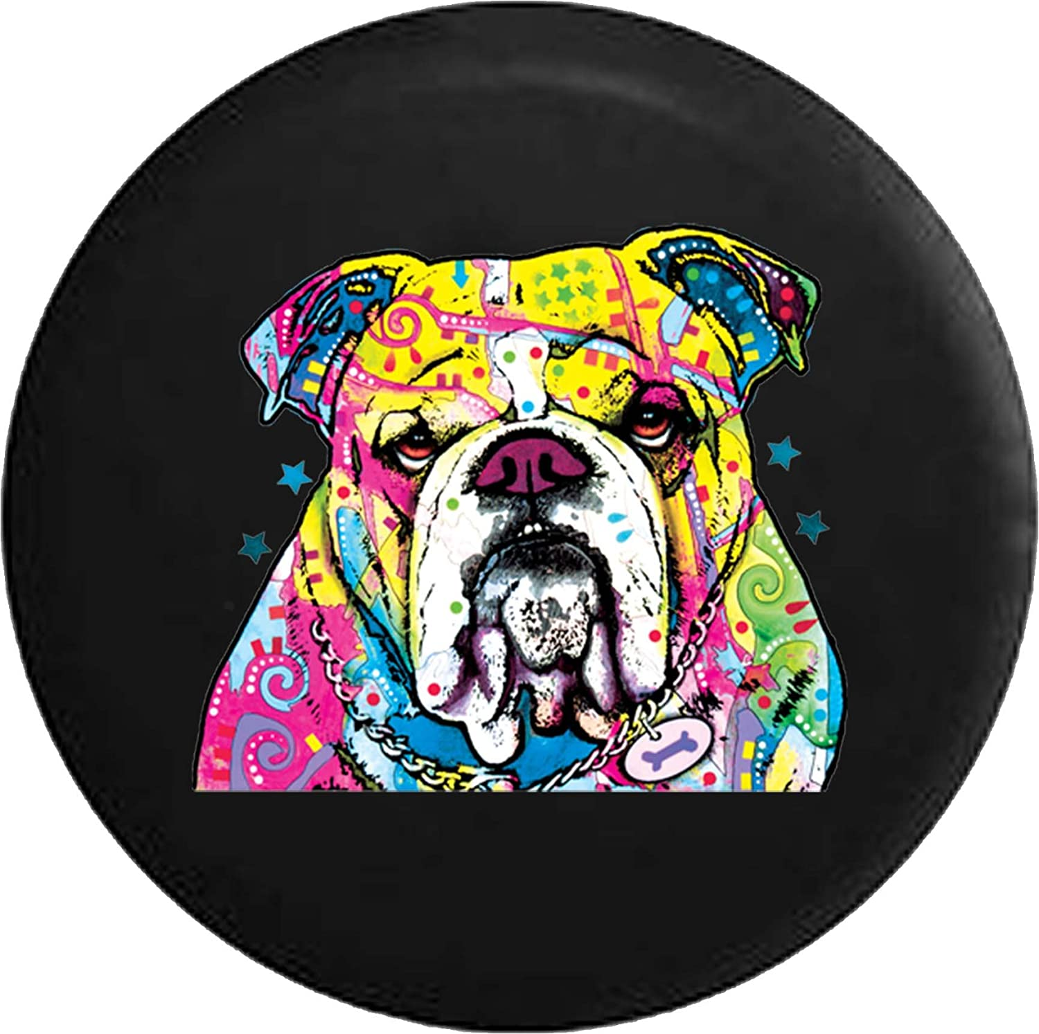 556 Gear English Bulldog Neon Artistic Dog Jeep RV Spare Tire Cover Black 33 in