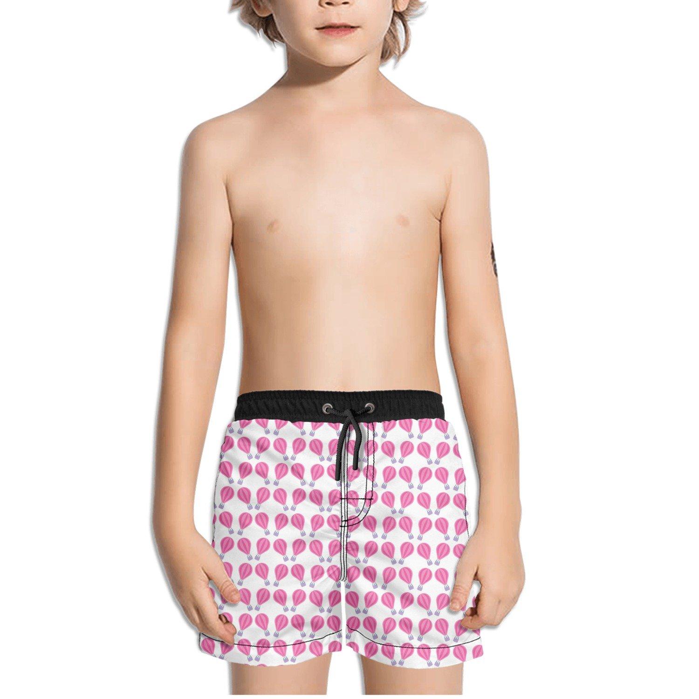 Trum Namii Boys Quick Dry Swim Trunks Pink Hot Air Balloon White Background Shorts