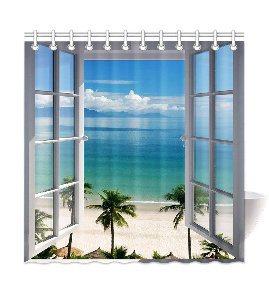 HommomH 72'' x 72'' Shower Curtain With Hooks Bathroom Anti-Bacterial Waterproof Beach Window