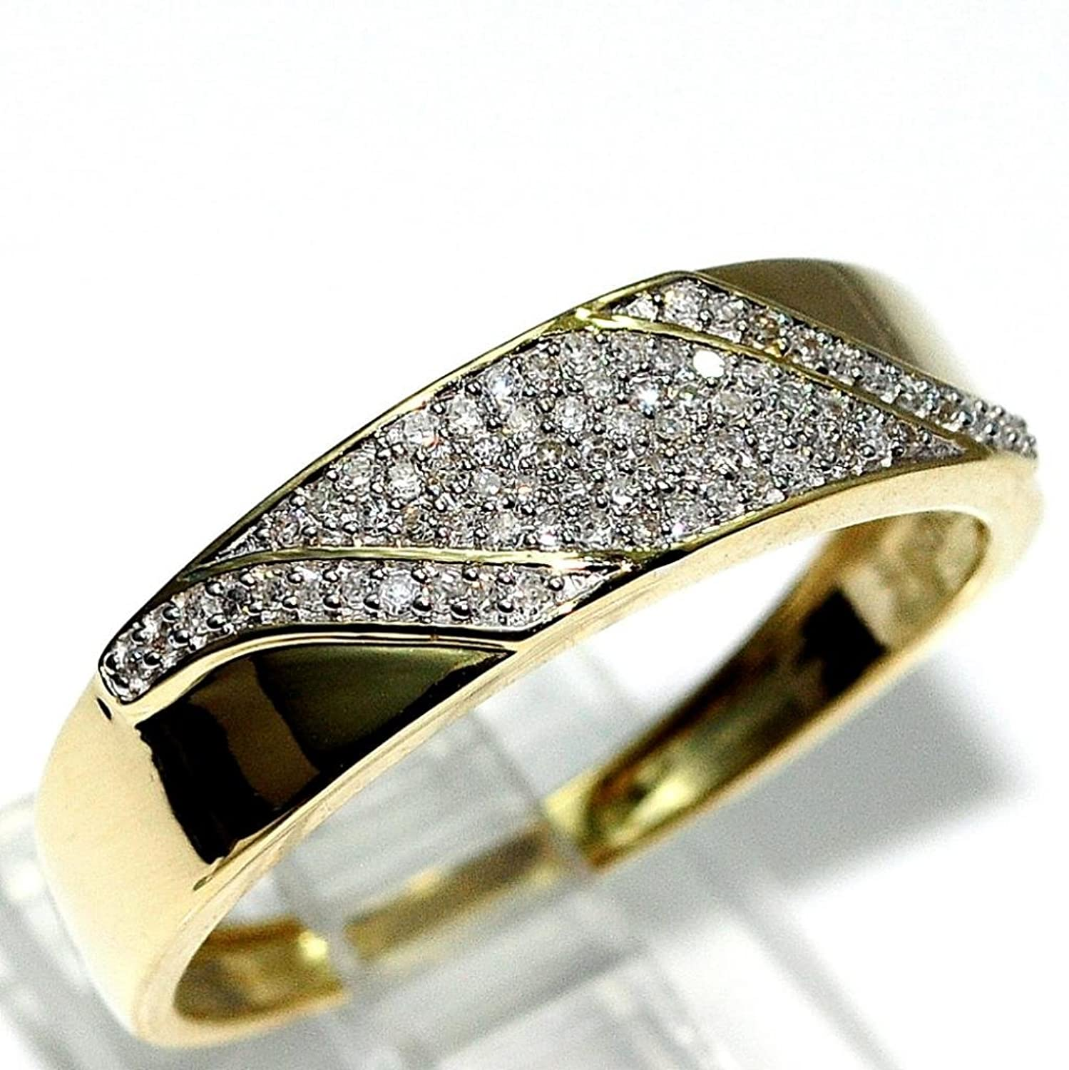 His and Her Rings Trio Wedding Set Yellow Gold 1 2cttw Diamonds