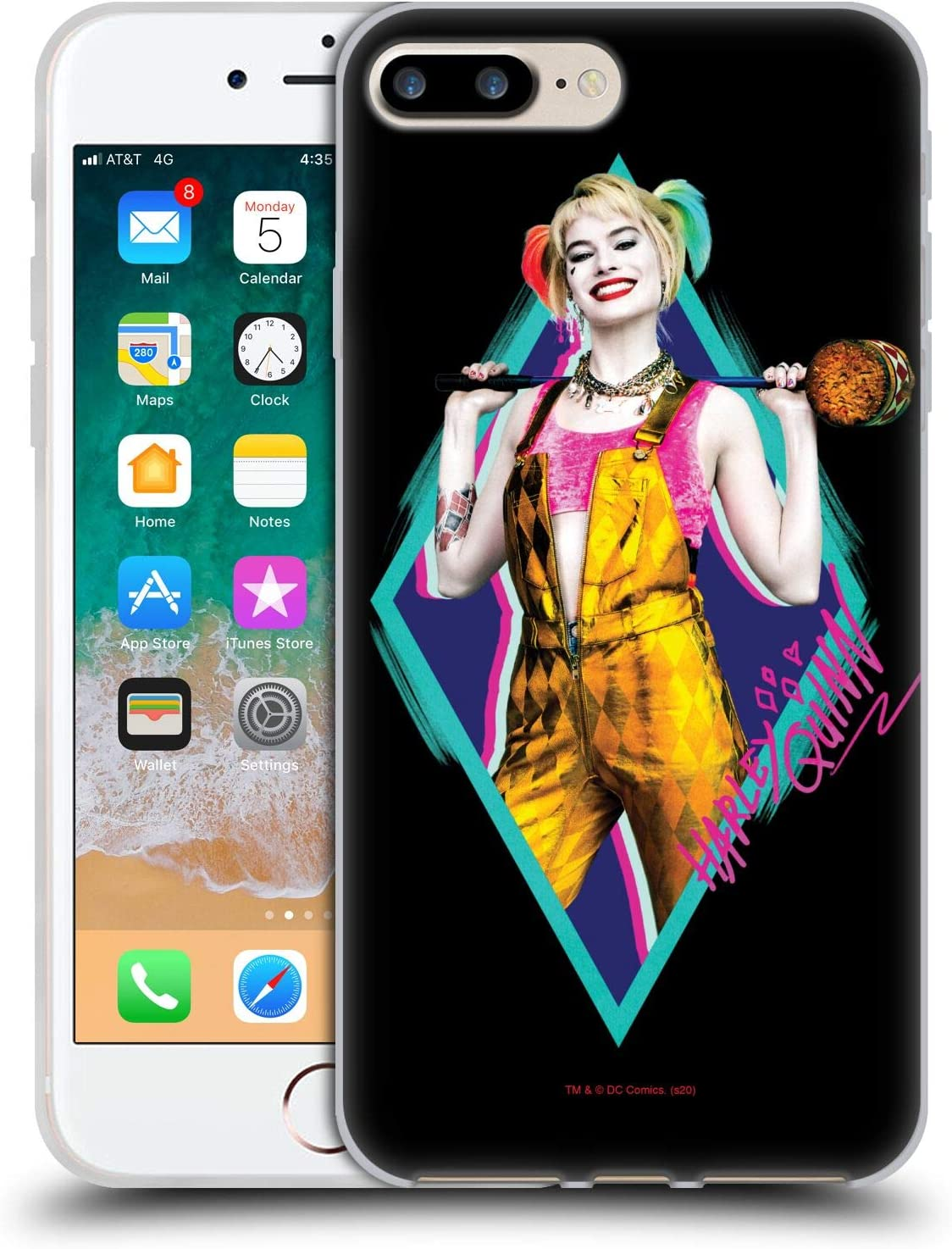 Head Case Designs Officially Licensed Birds of Prey DC Comics Happy Crazy Hammer Harley Quinn Soft Gel Case Compatible with Apple iPhone 7 Plus/iPhone ...