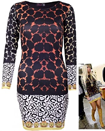 53291ca2 Red Olives® Womens Ladies Celeb Nicki Minaj Style Leopard Print Stretch  Bodycon Mini Tunic Dress UK 8-24: Amazon.co.uk: Clothing