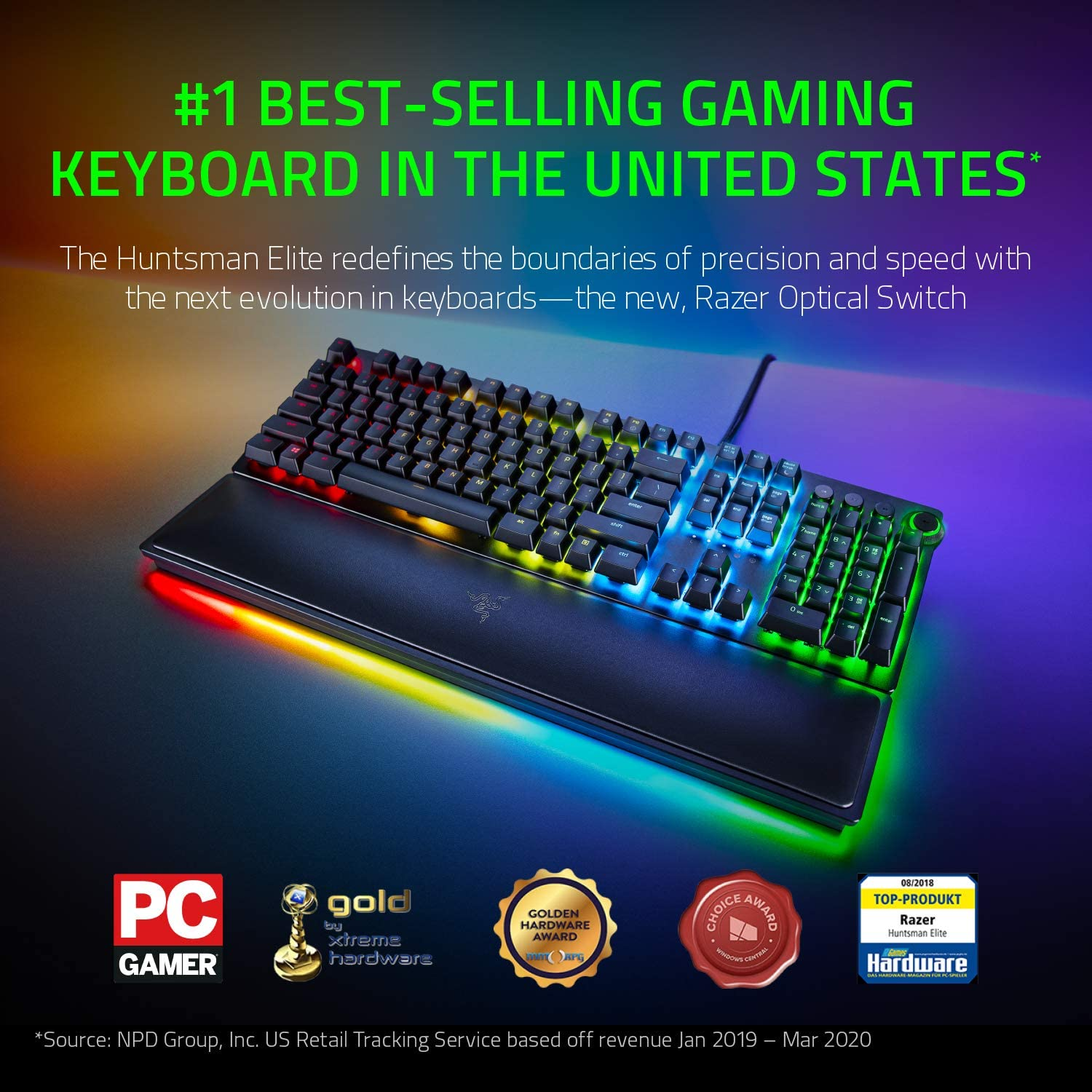 Amazon Com Razer Huntsman Elite Gaming Keyboard Fastest Keyboard Switches Ever Clicky Optical Switches Chroma Rgb Lighting Magnetic Plush Wrist Rest Dedicated Media Keys Dial Classic Black Computers Accessories