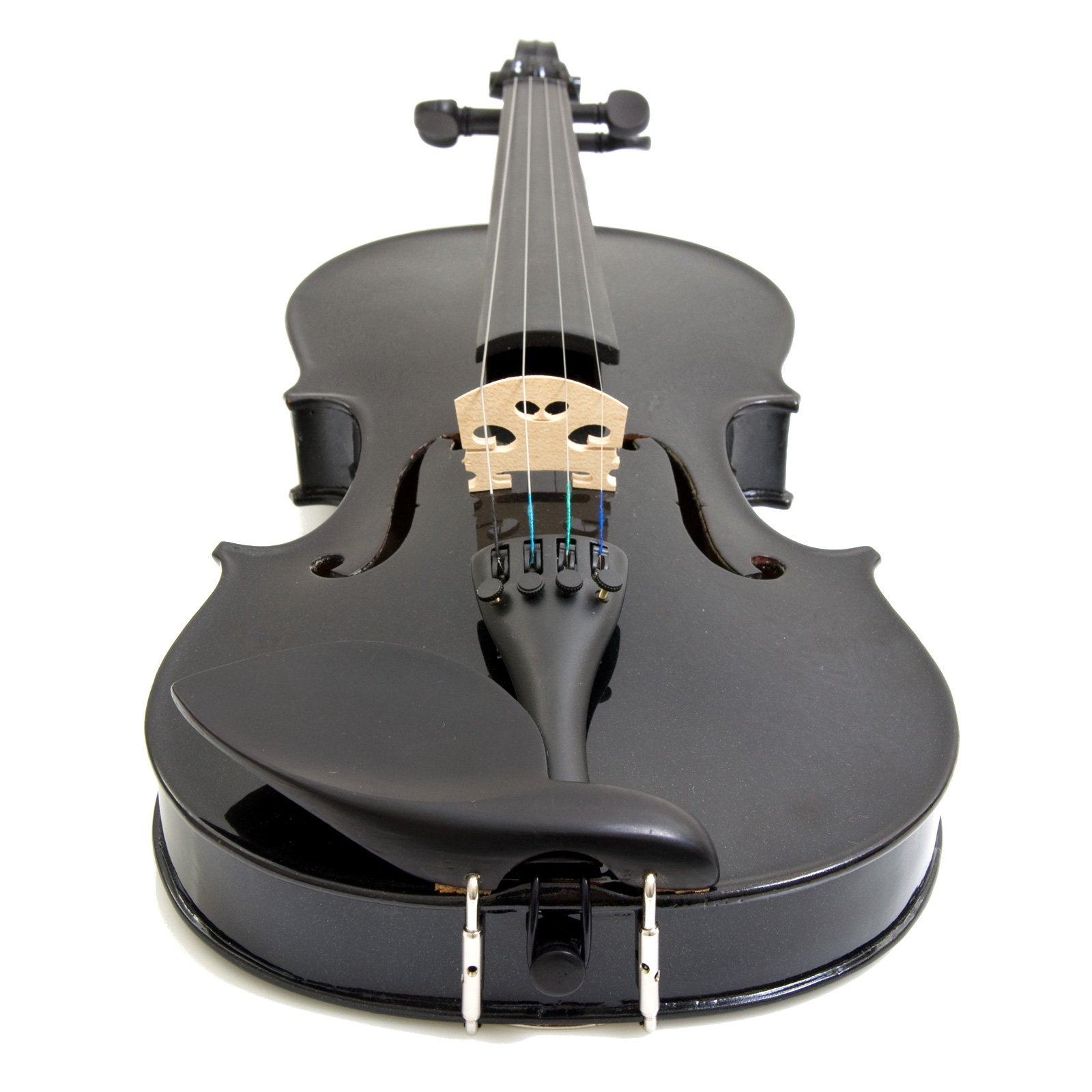 Mendini 4/4 MV-Black Solid Wood Violin with Tuner, Lesson Book, Shoulder Rest, Extra Strings, Bow and Case, Metallic Black Full Size by Mendini by Cecilio (Image #5)