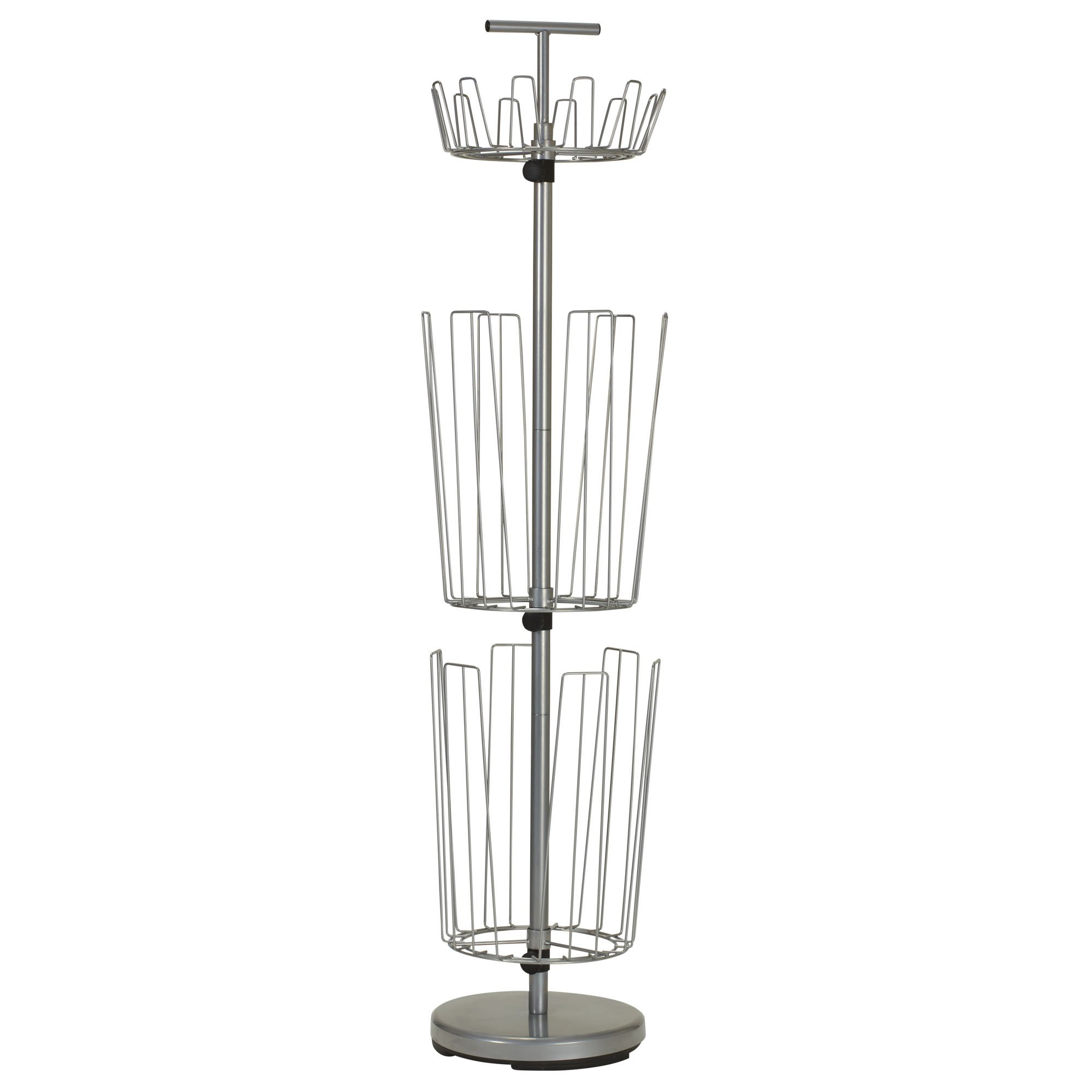 Household Essentials 2132-1 Metal 3-Tier Revolving Shoe and Boot Rack - Silver