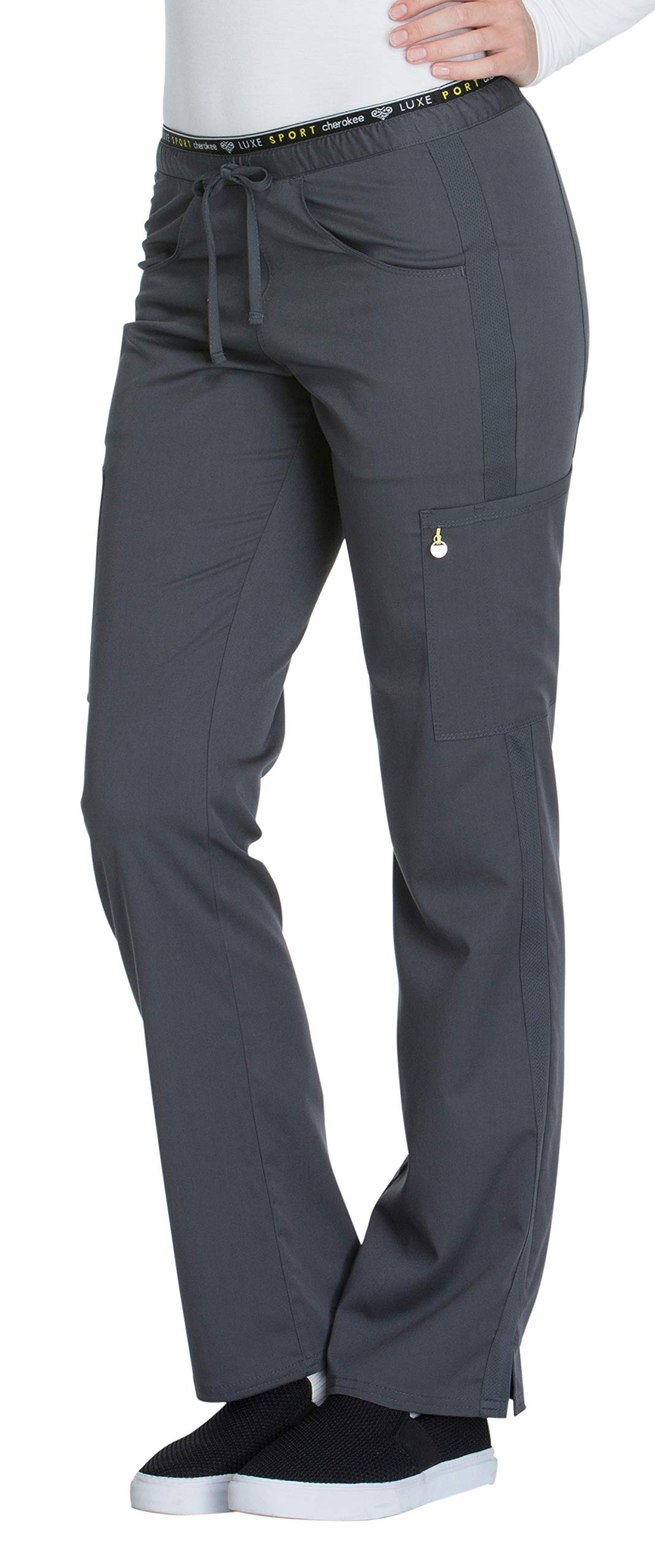 Cherokee Women's Luxe Sport Mid Rise Straight Leg Pull-on Pant, Pewter, Medium by Cherokee (Image #3)