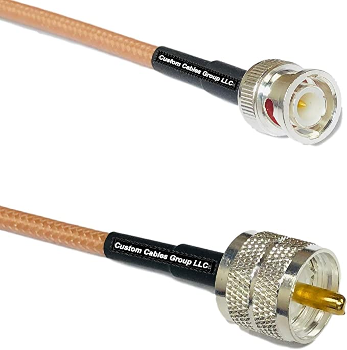 1 Foot RG400 Silver Plated BNC Male Angle to PL259 UHF Male RF Coaxial Cable